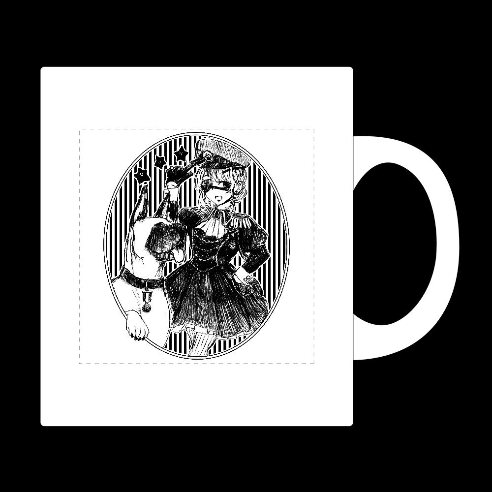 軍服ワンピ女の子と犬 ワンポイント マグカップ