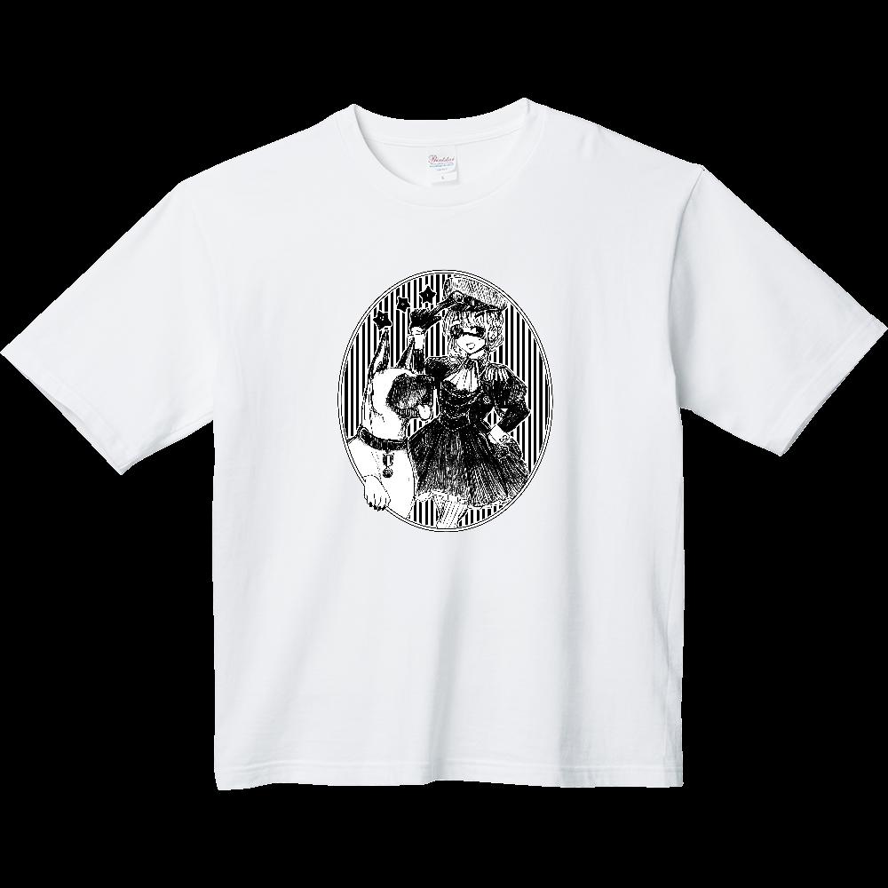 軍服ワンピ女の子と犬 ヘビーウェイト ビッグシルエットTシャツ