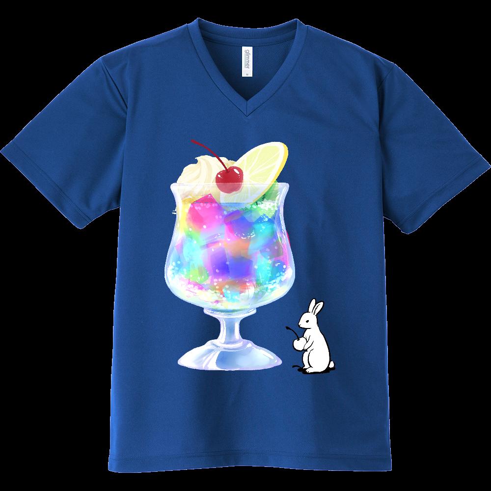 純喫茶ブルーラビット ゼリーポンチのドライVネックTシャツ ドライVネックTシャツ