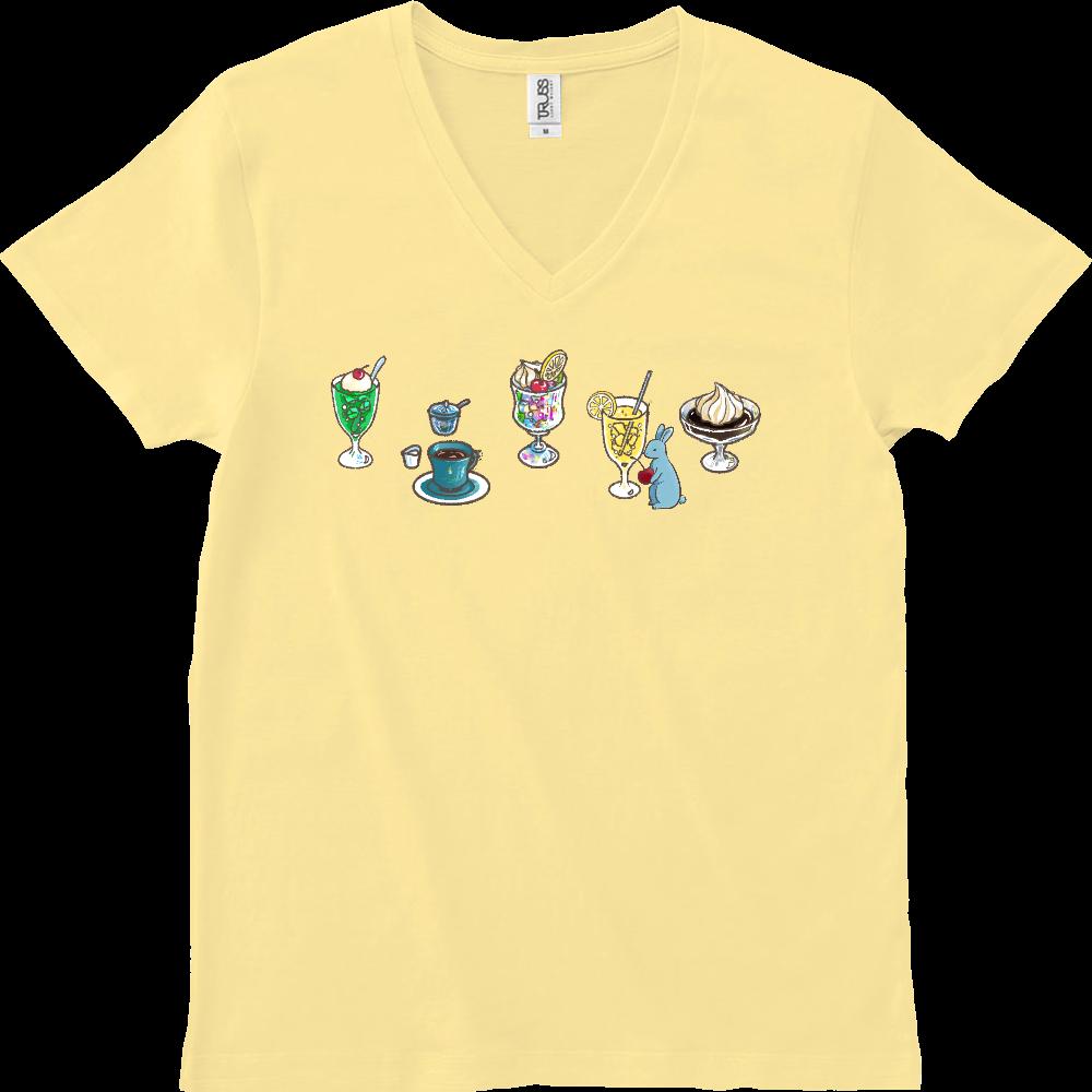純喫茶ブルーラビット ドリンク色々+ナポリタン スリムフィットVネックTシャツ スリムフィット VネックTシャツ