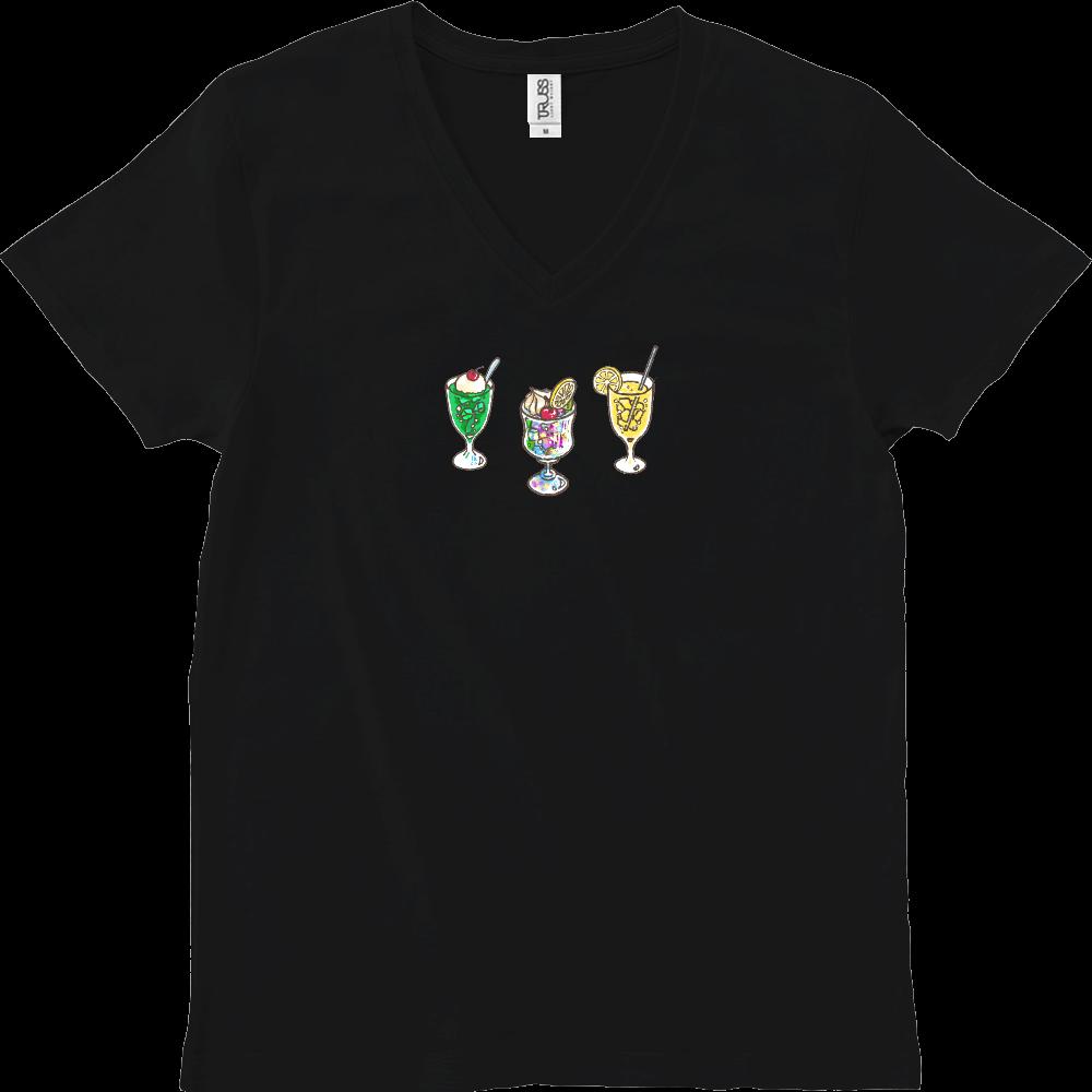 純喫茶ブルーラビット ドリンク3種+袖ロゴ スリムVネックTシャツ スリムフィット VネックTシャツ