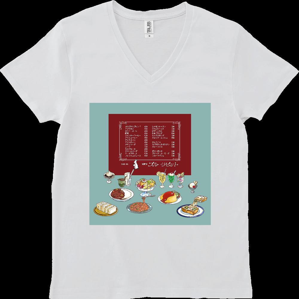 純喫茶ブルーラビット おなかいっぱい仕様 スリムVネックTシャツ スリムフィット VネックTシャツ