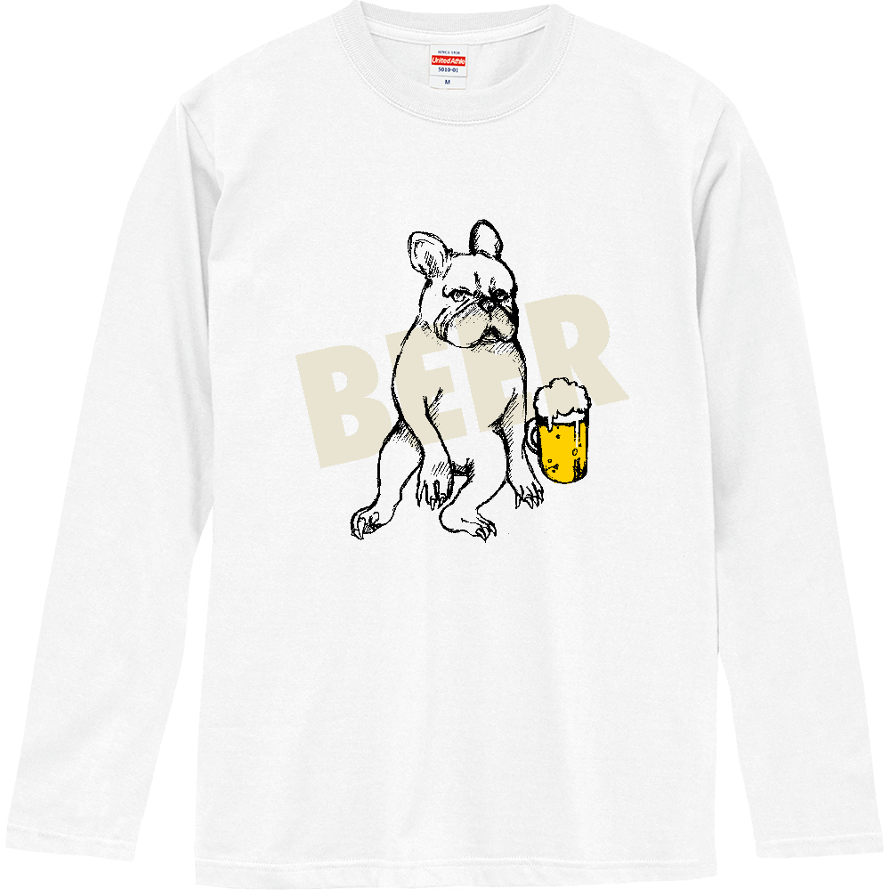 ビールとブル ロングスリーブTシャツ