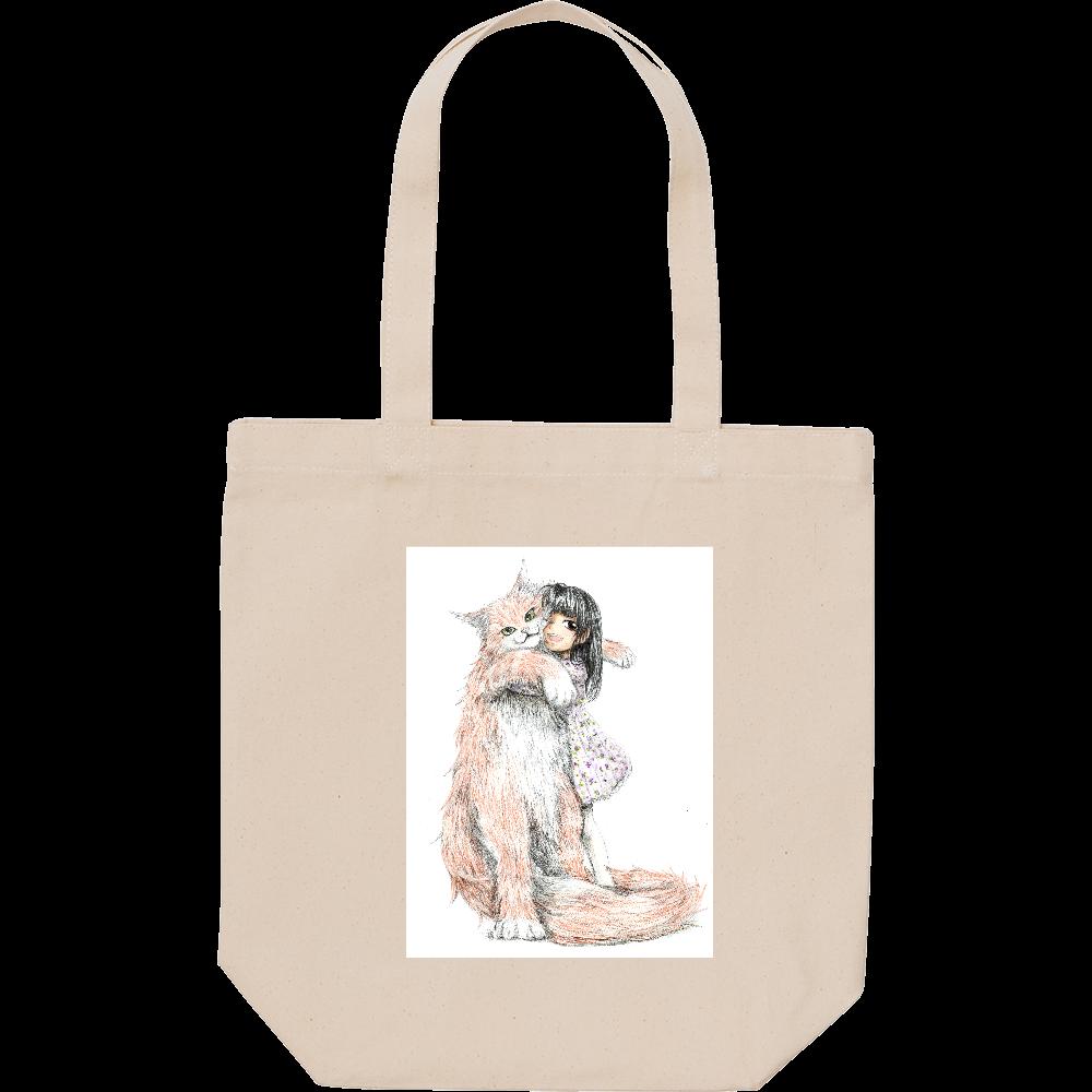 小さい女の子とでっかい猫 スタンダードキャンバストートバッグ(M)