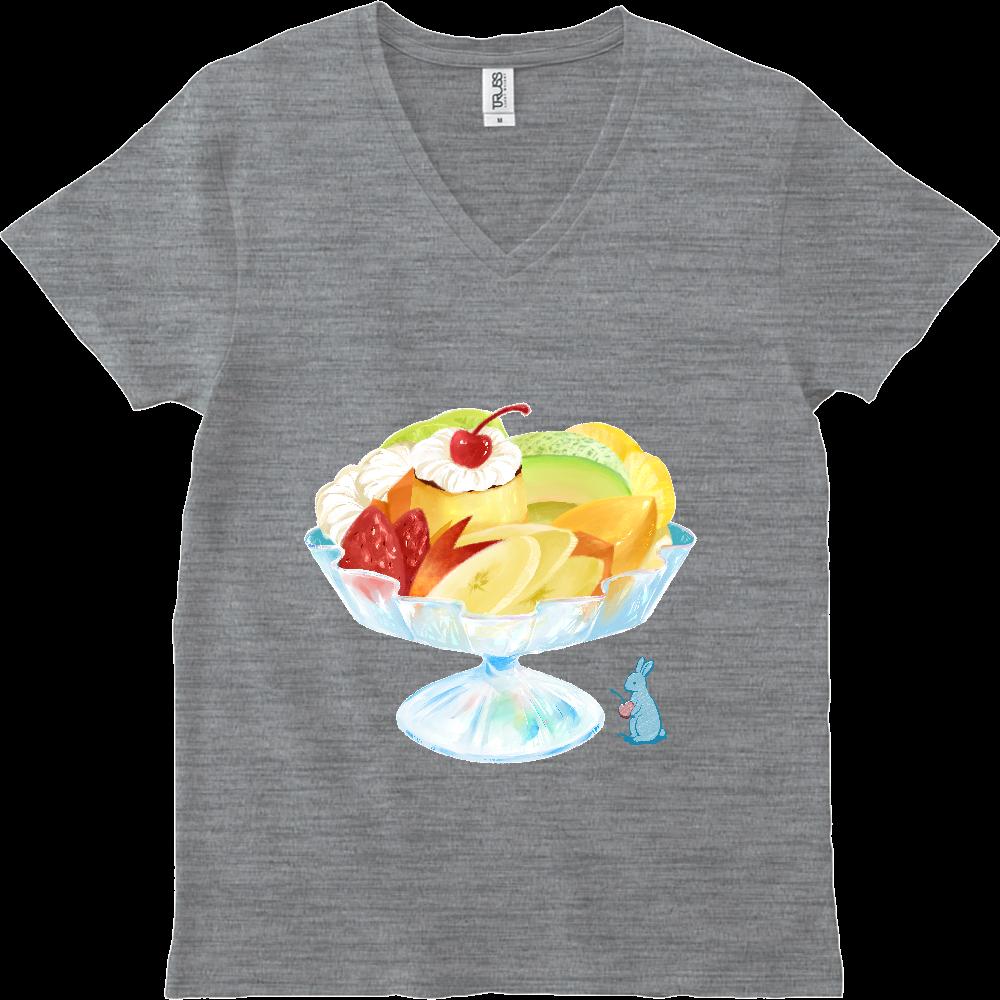 純喫茶ブルーラビット プリンアラモード&オーナー VネックTシャツ スリムフィット VネックTシャツ