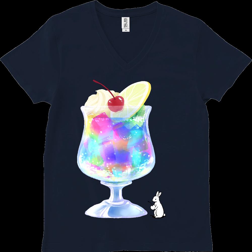 純喫茶ブルーラビット ゼリーポンチのスリムVネックTシャツ スリムフィット VネックTシャツ