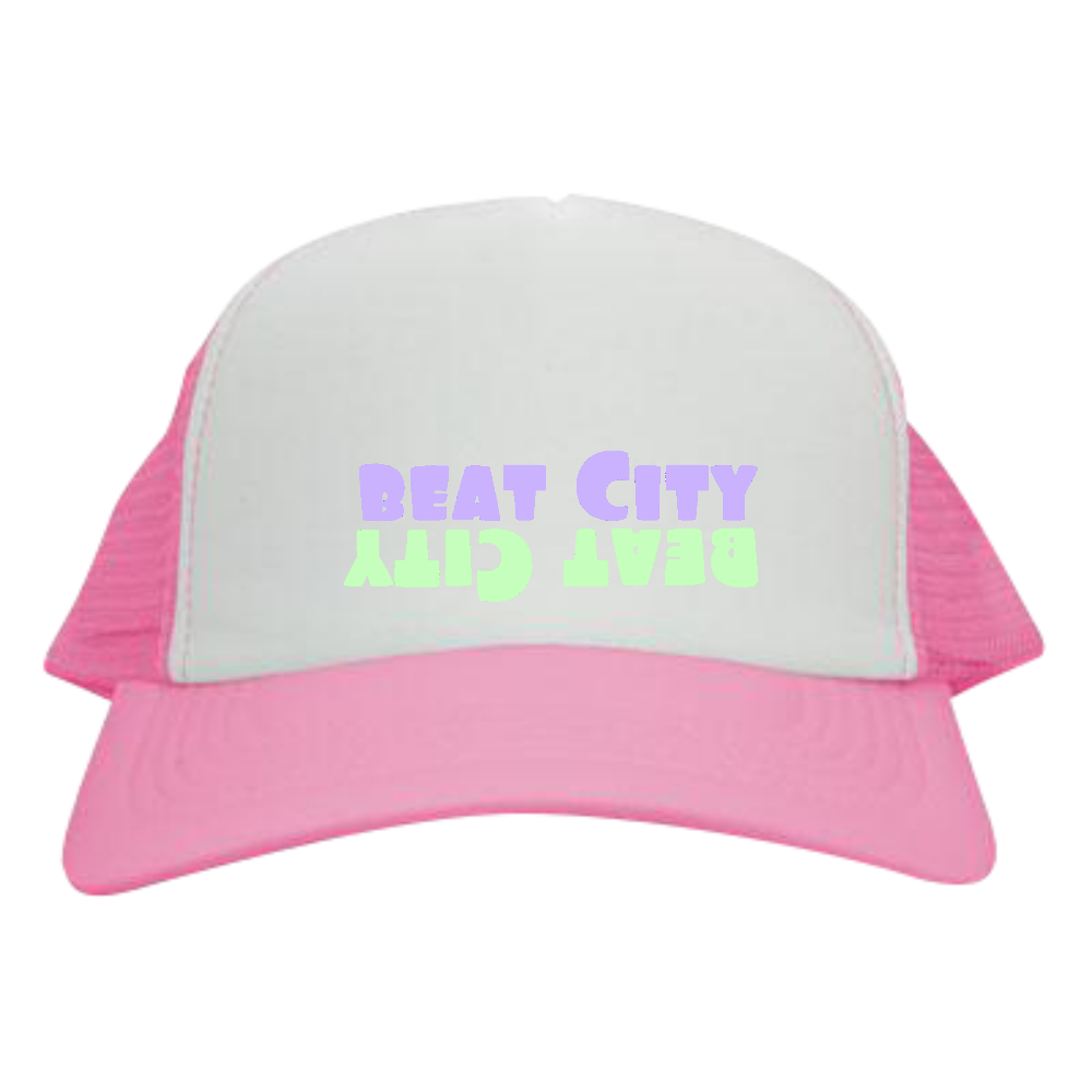 Beat City メッシュキャップ ピンク×ホワイト メッシュキャップ