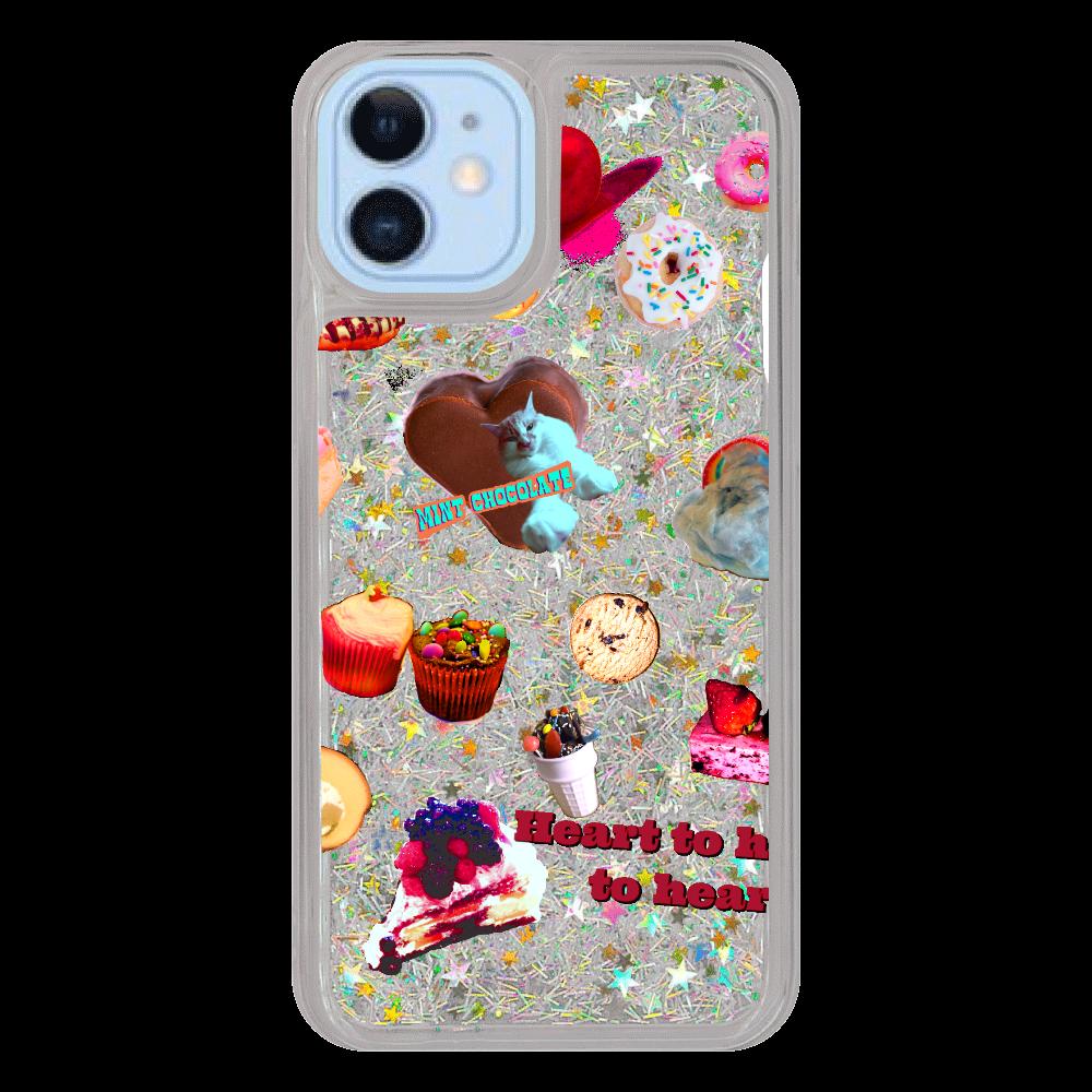 お菓子とネコ iPhone12/12pro グリッターケース シルバー iPhone12/12pro グリッターケース