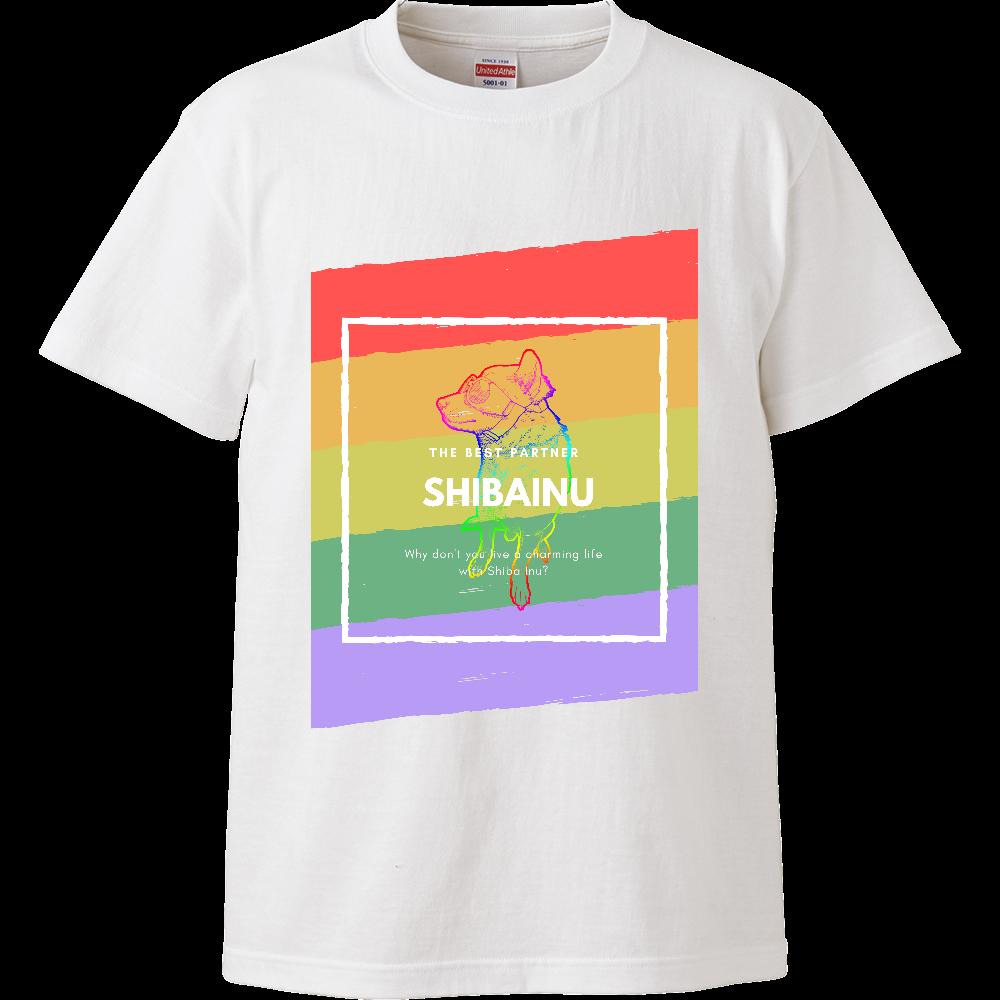 カラフル柴犬Tシャツ/レインボー ハイクオリティーTシャツ