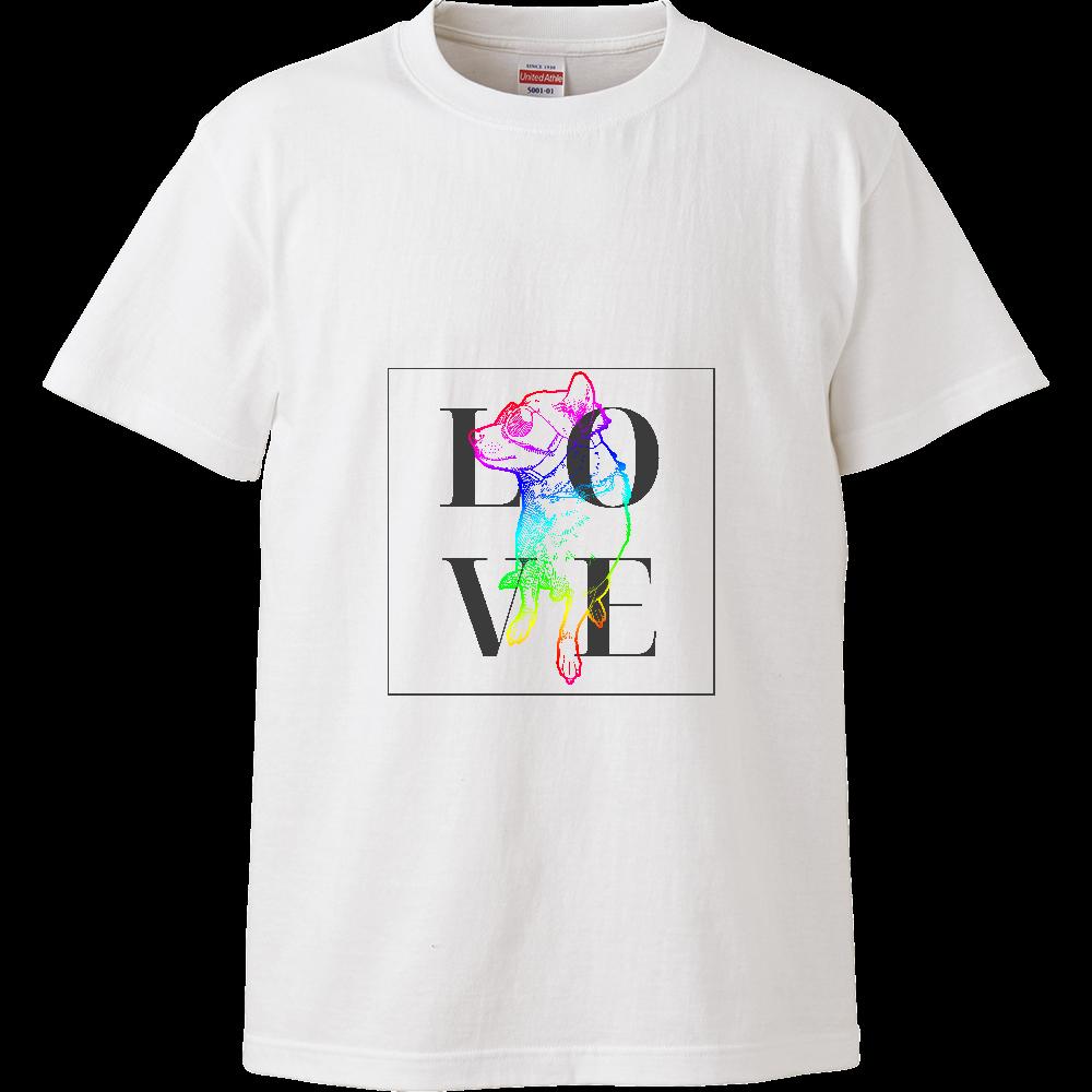 カラフル柴犬Tシャツ/LOVE ハイクオリティーTシャツ