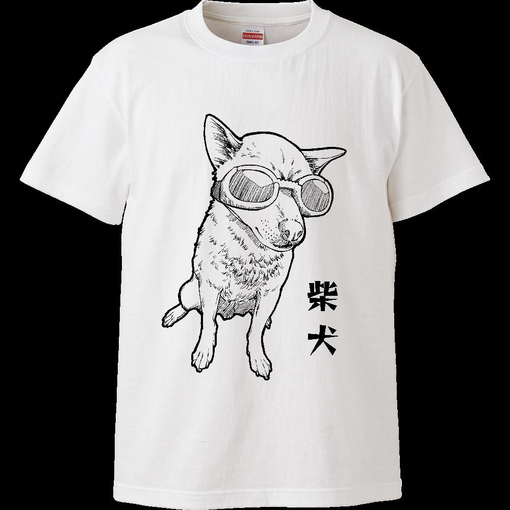 モノクロ柴犬Tシャツ/ホワイト ハイクオリティーTシャツ