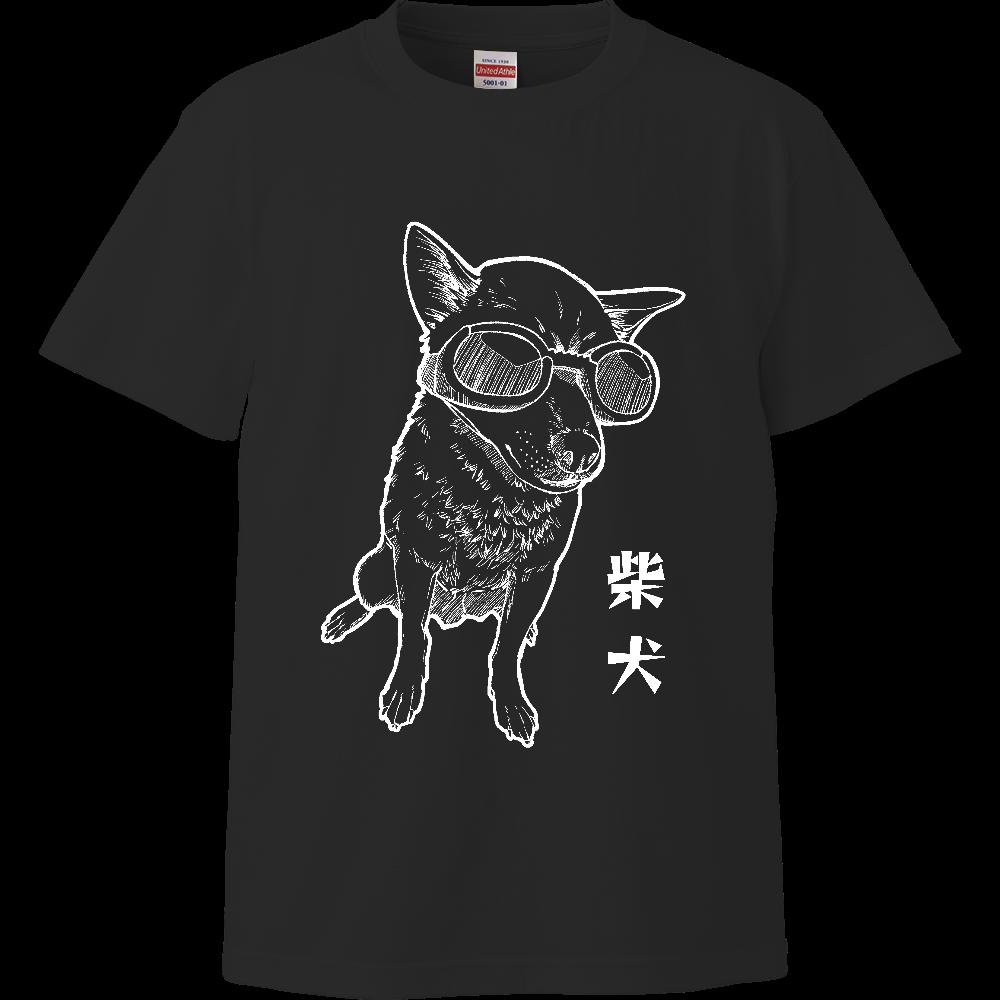 モノクロ柴犬Tシャツ/ブラック ハイクオリティーTシャツ