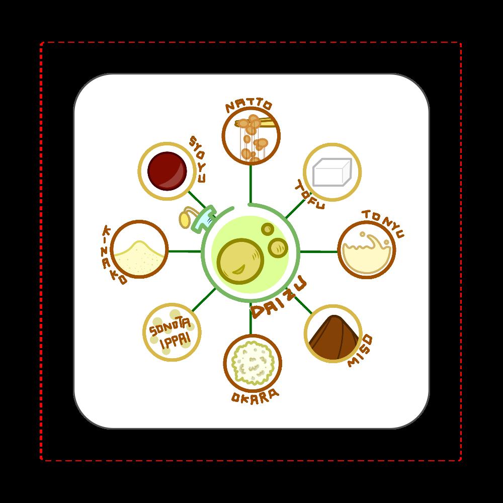 超食材大豆 全面プリントハンカチタオル 全面プリントハンカチタオル