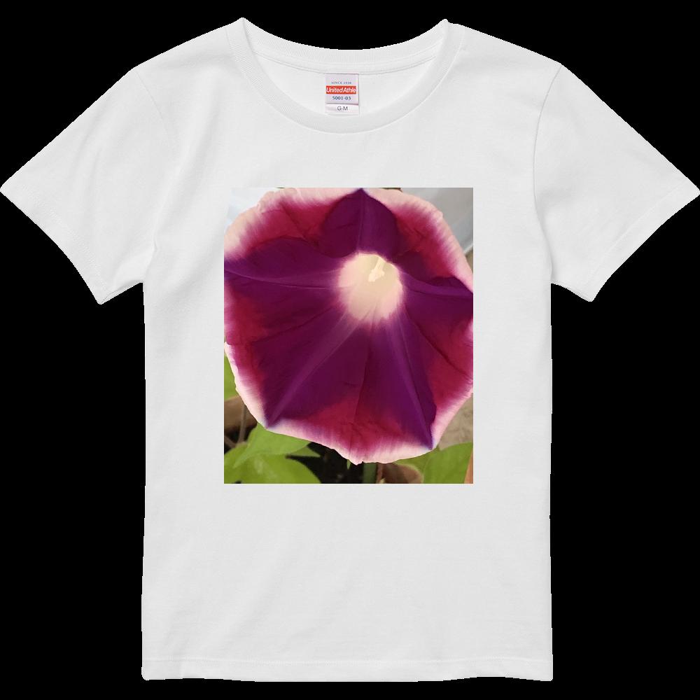 朝顔 濃い紫色 ハイクオリティーTシャツ(ガールズ)