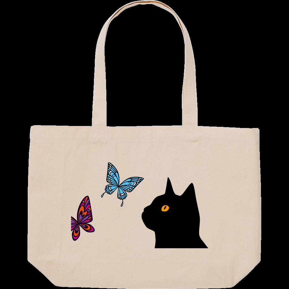トートバッグ 猫と蝶 スタンダードキャンバストートバッグ(W)