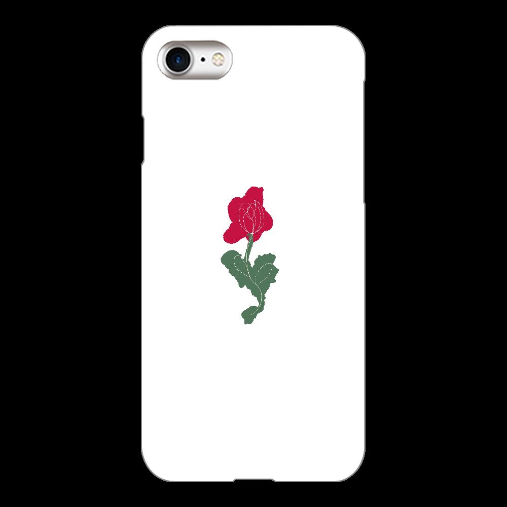 手描き風デザイン(バラ)スマホケース iPhone8(白)