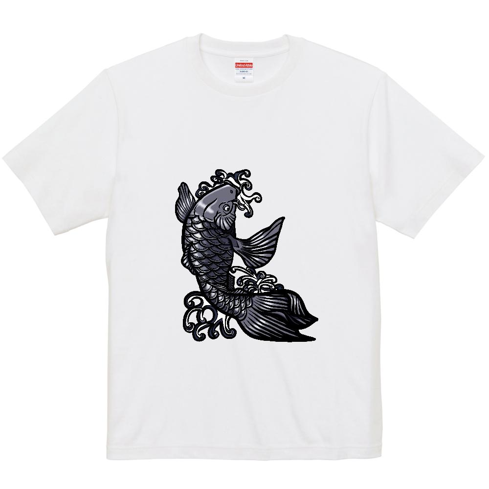鯉の滝登り 黒 5.0オンス ユニバーサルフィットTシャツ