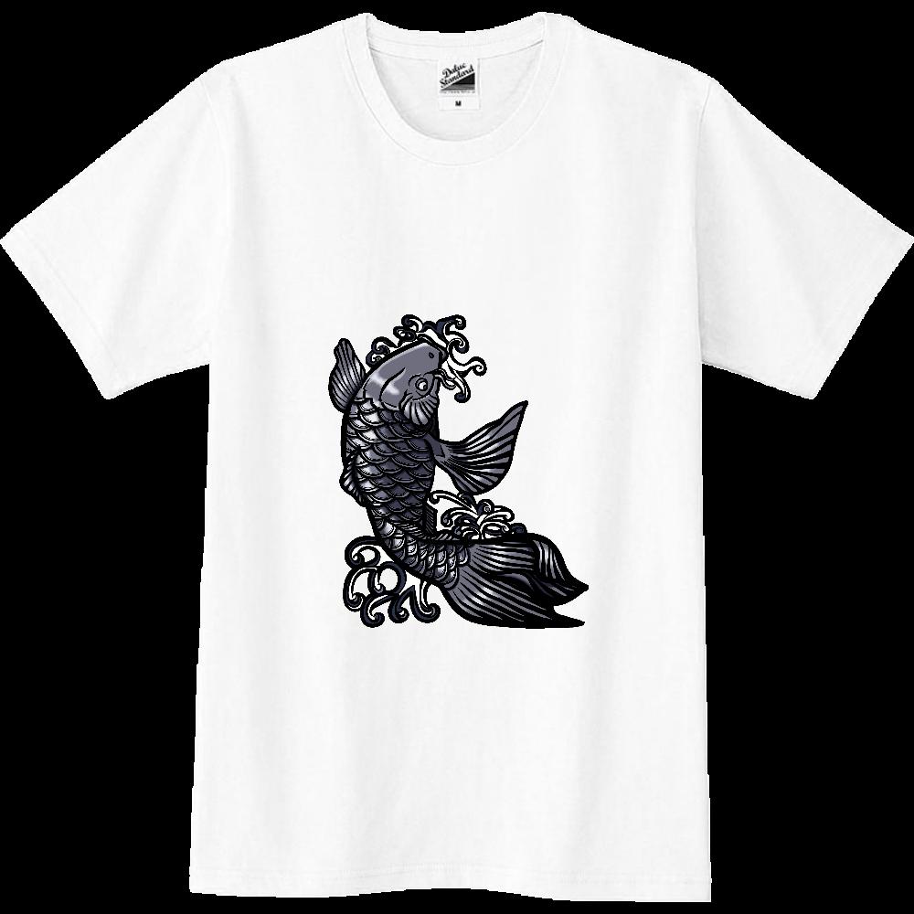 鯉の滝登り 黒 スリムTシャツ
