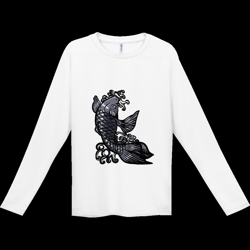 鯉の滝登り 黒 インターロック ドライ長袖Tシャツ