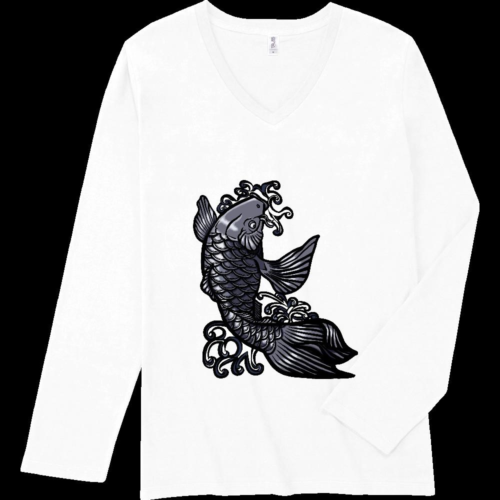 鯉の滝登り 黒 スリムフィット VネックロングスリーブTシャツ