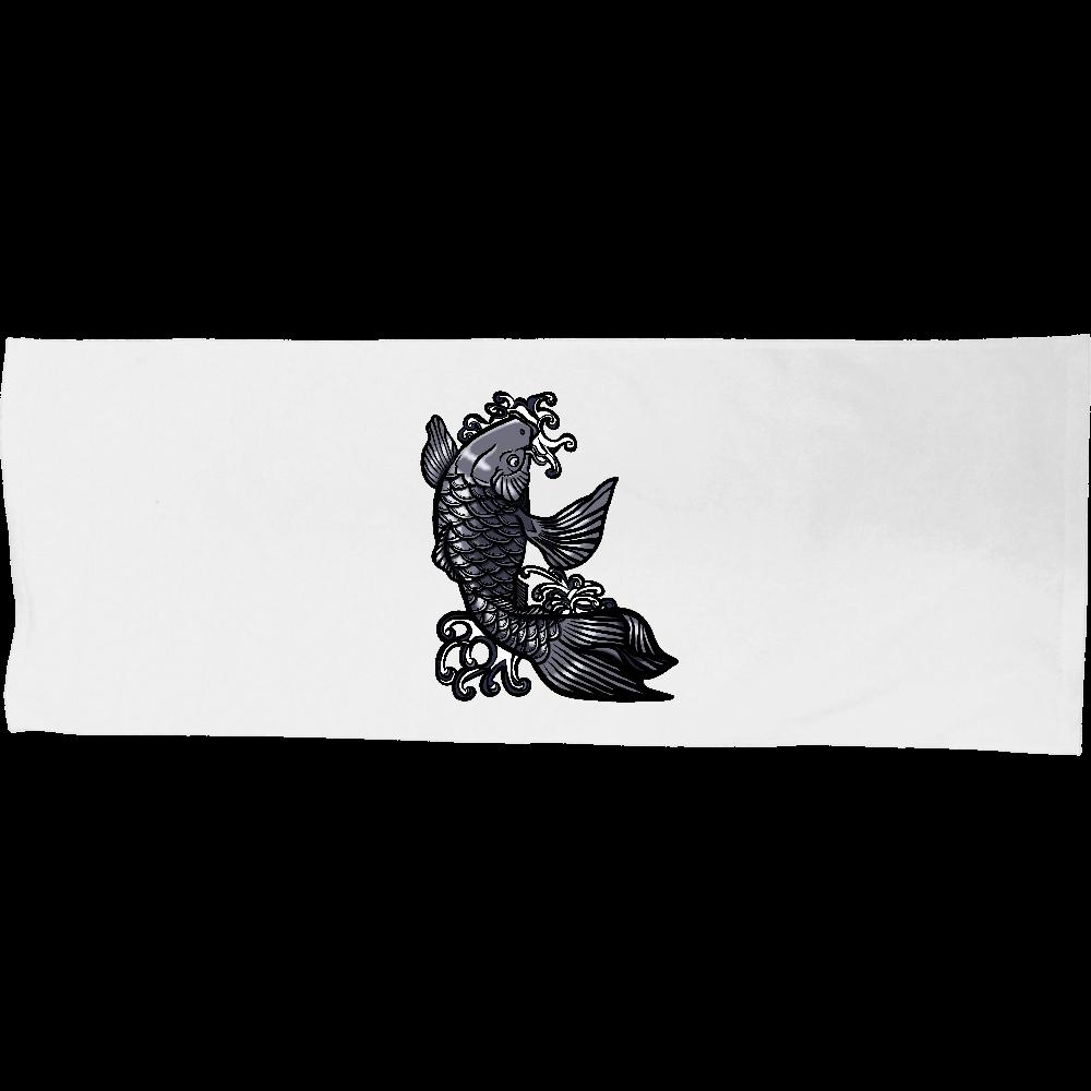 鯉の滝登り 黒 シャーリングスポーツタオル