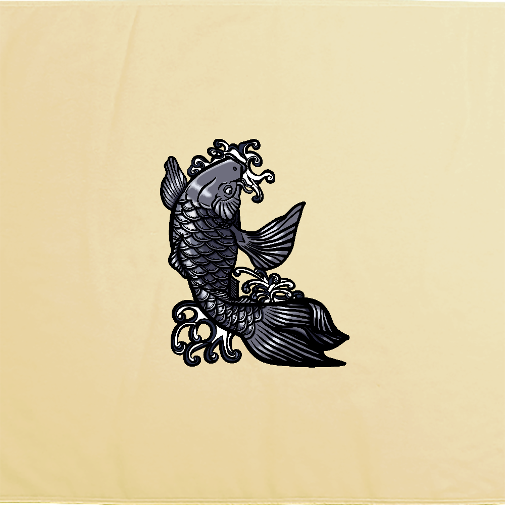 鯉の滝登り 黒 シャーリングバスタオル