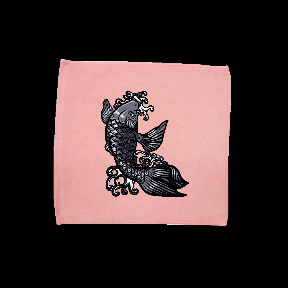 鯉の滝登り 黒 ハンドタオル