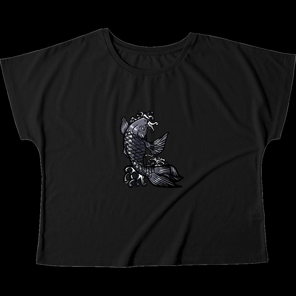 鯉の滝登り 黒 ウィメンズ ドルマン Tシャツ