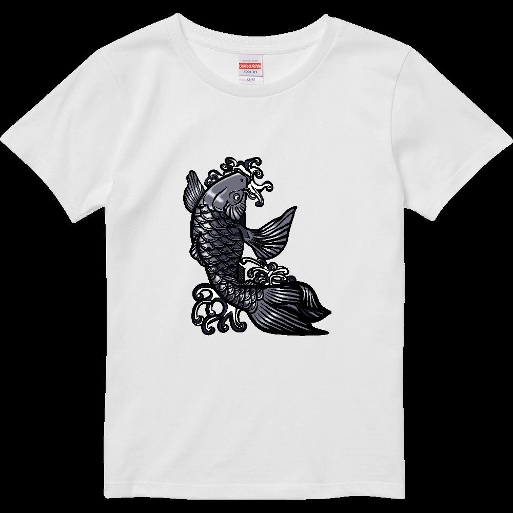 鯉の滝登り 黒 ハイクオリティーTシャツ(ガールズ)