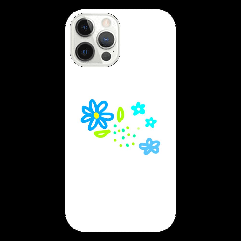 青いお花のスマホケース iPhone12 Pro