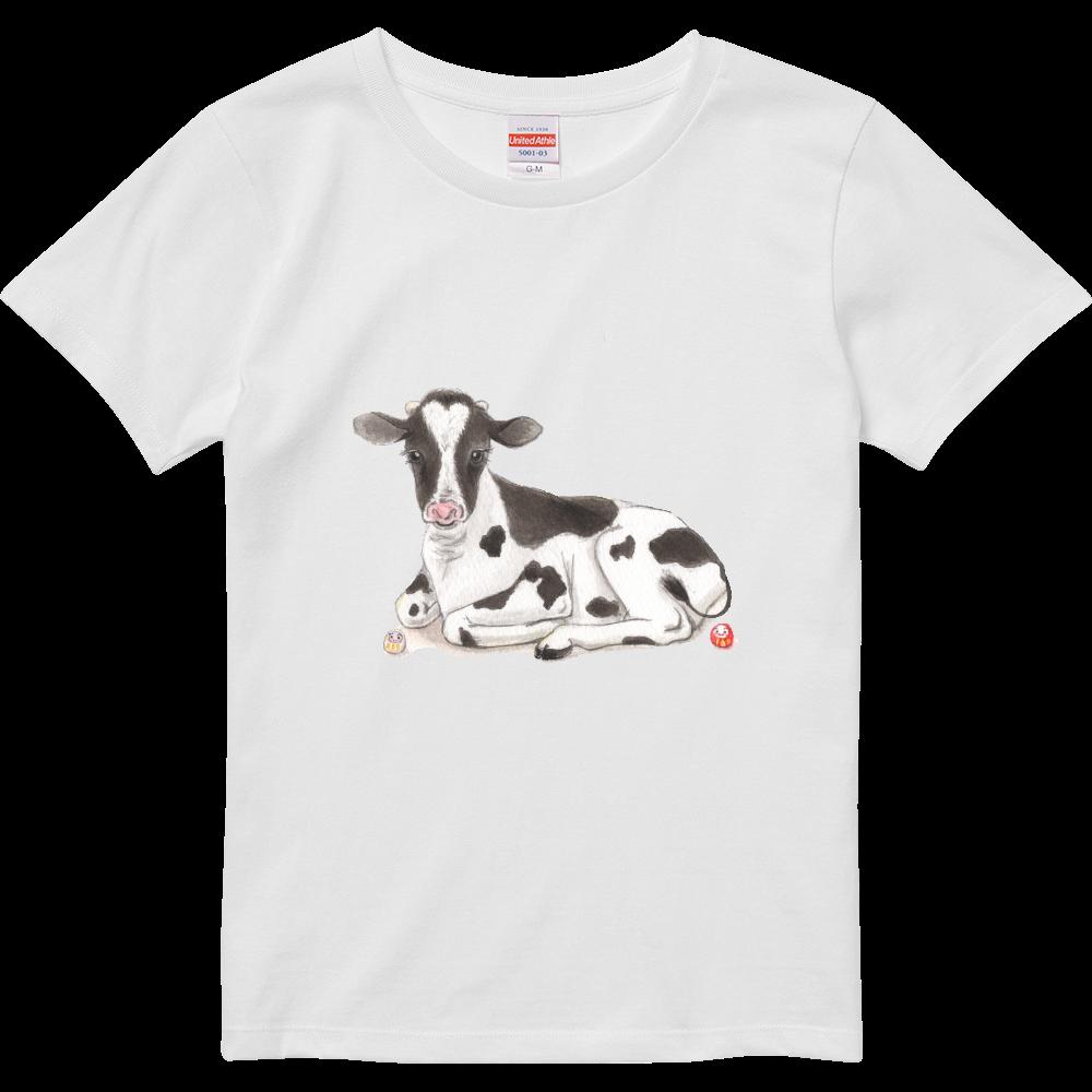 牛 さんと だるまさん のほのぼの時間 ハイクオリティーTシャツ(ガールズ)