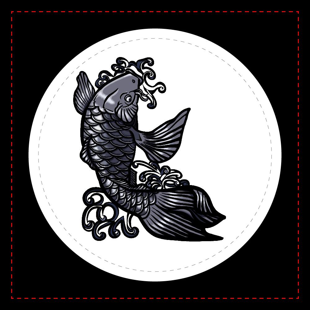 鯉の滝登り 黒 レザーバッジ