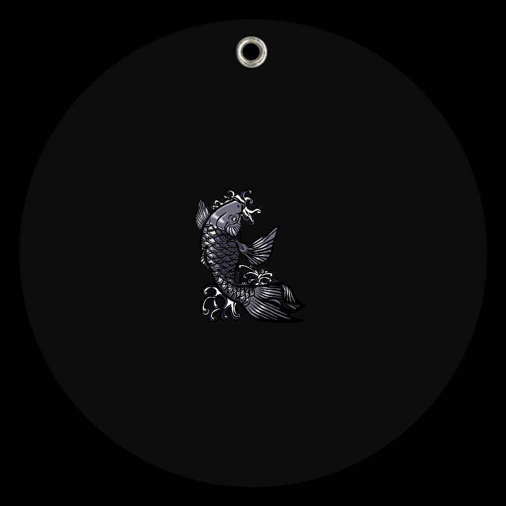 鯉の滝登り 黒 スライドアクリルミラー ラウンド