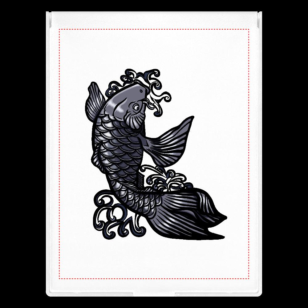 鯉の滝登り 黒 フロストスクエアミラー(L)