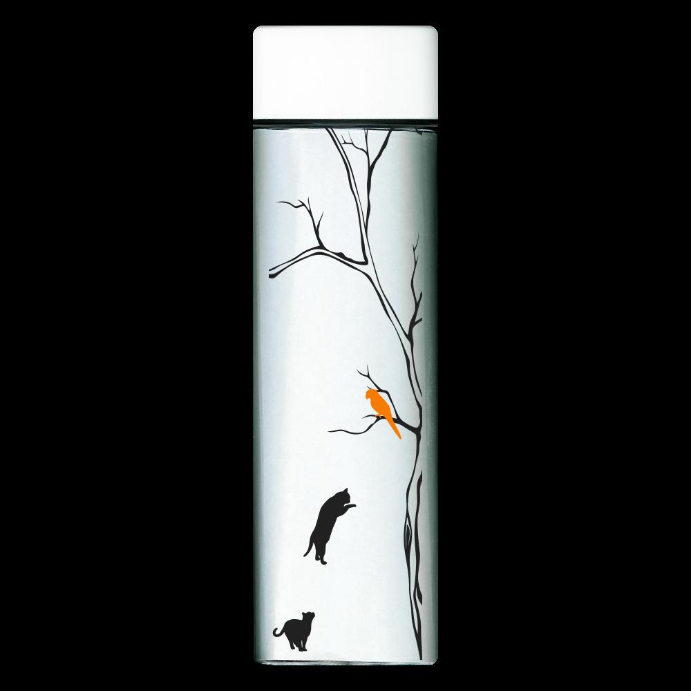 猫と鳥 スクエアクリアボトル