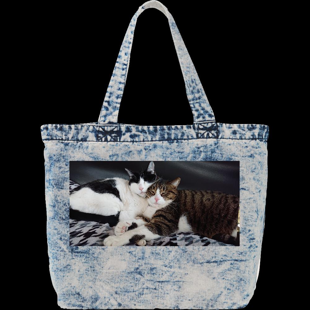 猫ちゃんプリントデニムバッグ デニム ラージ トートバッグ