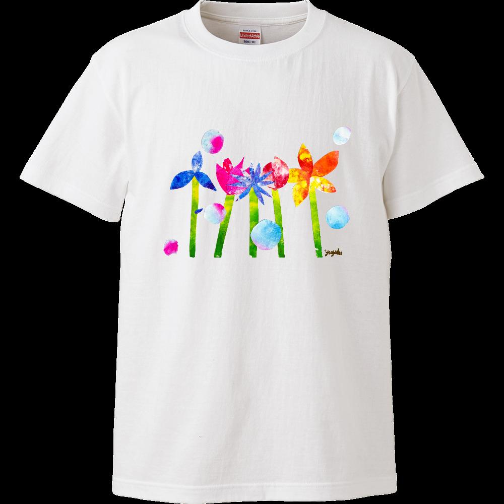 カラフル フラワー 貼り絵 ハイクオリティーTシャツ