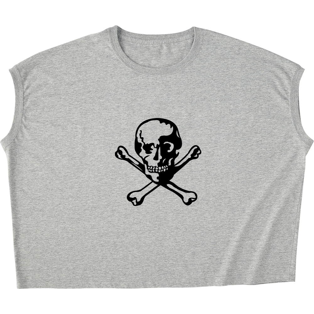 ドクロTシャツ スリーブレス ワイド Tシャツ