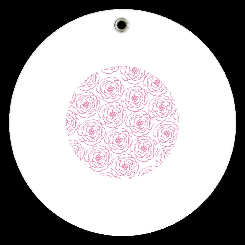 ピンクの花のミラー 丸い鏡 スライドアクリルミラー ラウンド