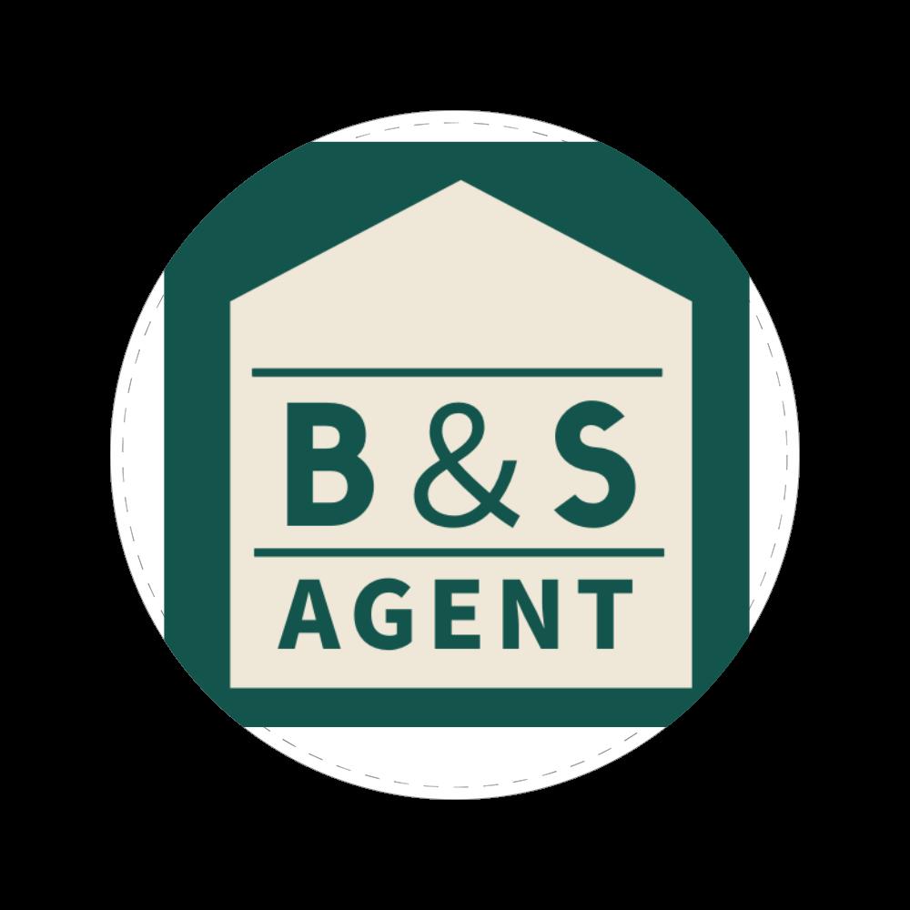 B&S AGENTのオフィシャルグッズ 56㎜缶バッジ