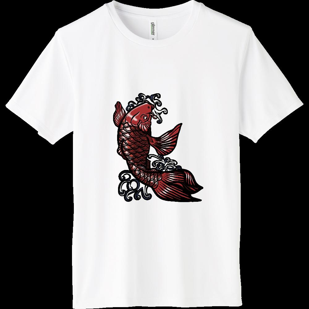 鯉の滝登り 赤 インターロックドライTシャツ