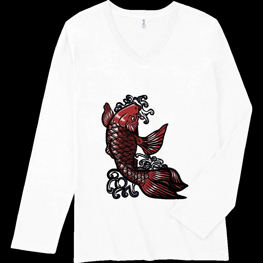 鯉の滝登り 赤 スリムフィット VネックロングスリーブTシャツ
