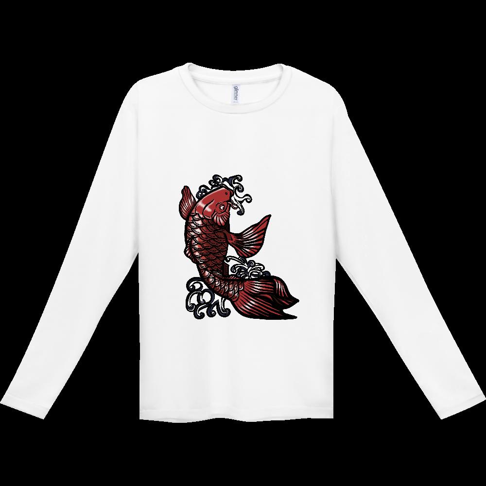 鯉の滝登り 赤 インターロック ドライ長袖Tシャツ