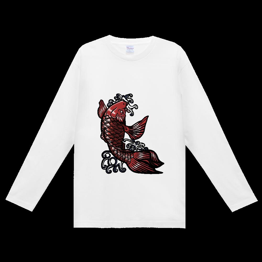 鯉の滝登り 赤 ヘビーウェイト長袖Tシャツ