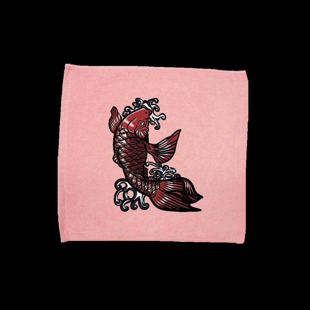 鯉の滝登り 赤 ハンドタオル