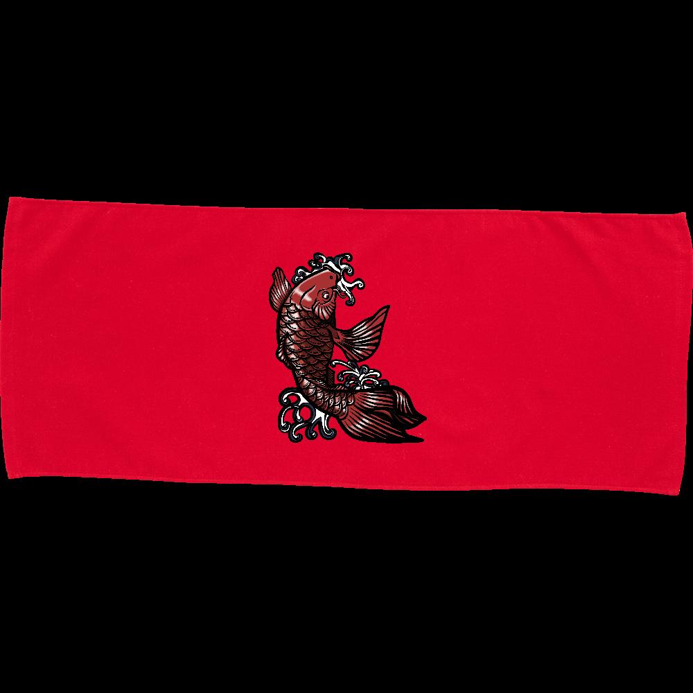 鯉の滝登り 赤 カラーフェイスタオル