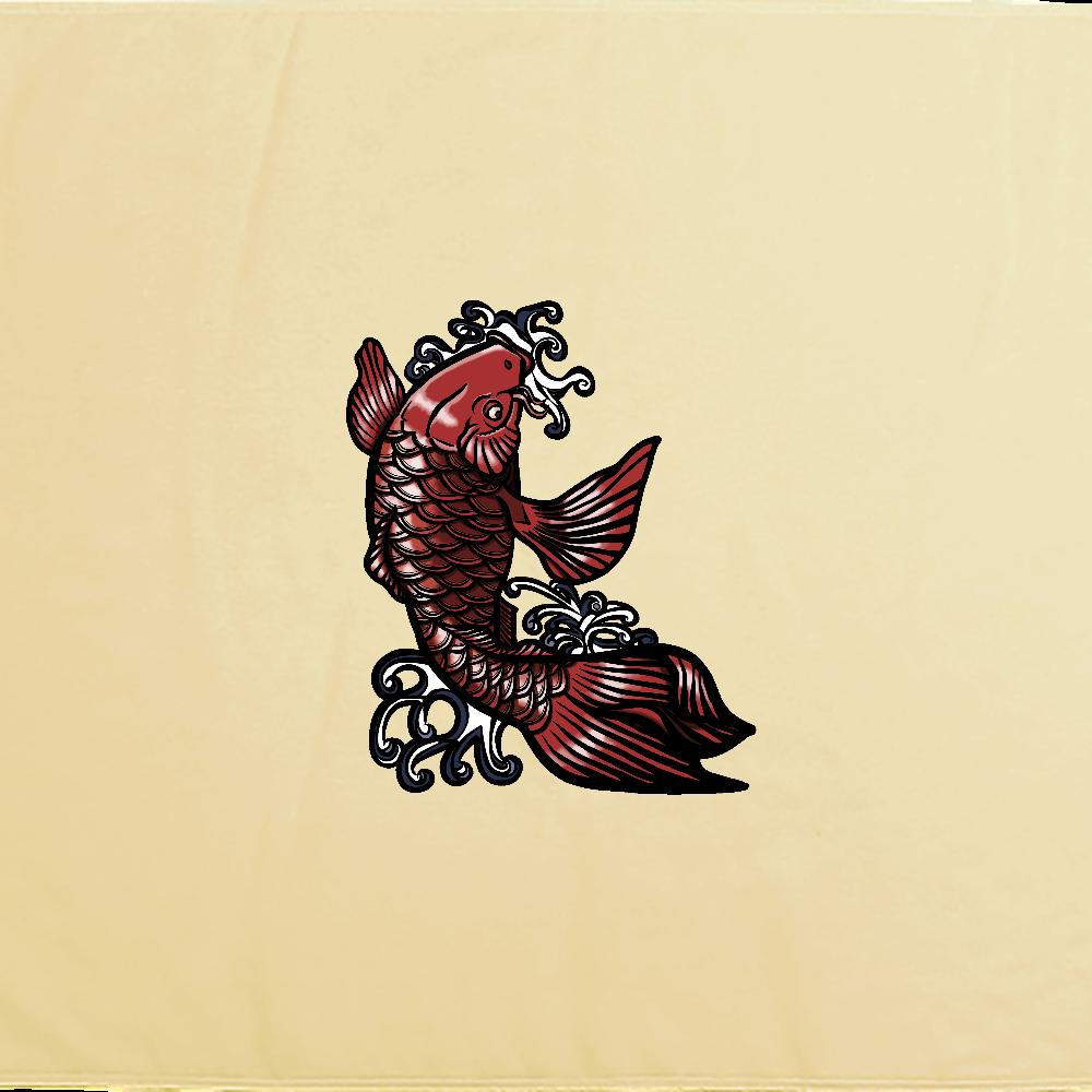 鯉の滝登り 赤 シャーリングバスタオル