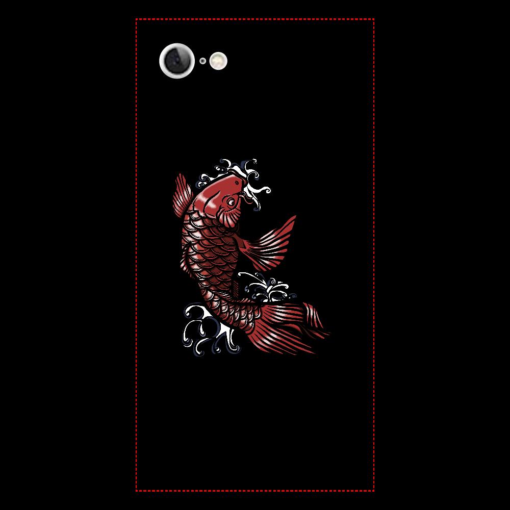 鯉の滝登り 赤 iPhone7 背面強化ガラス(スクエア)