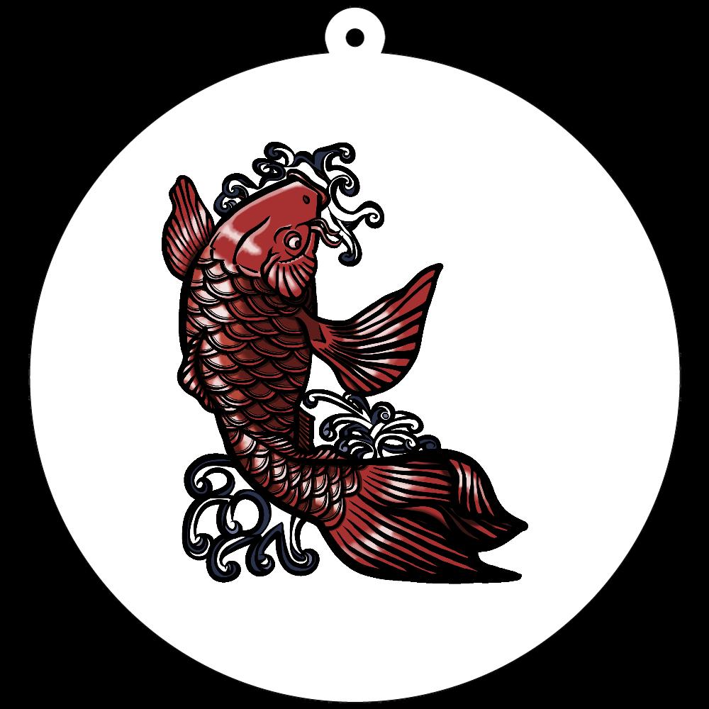 鯉の滝登り 赤 70×70mm アクリルキーホルダー(丸型)