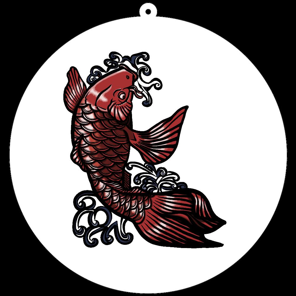 鯉の滝登り 赤 100×100mm アクリルキーホルダー(丸型)